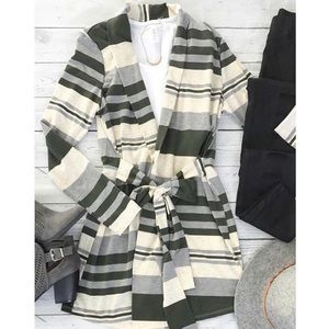 Striped Cardigan with Tie Waist